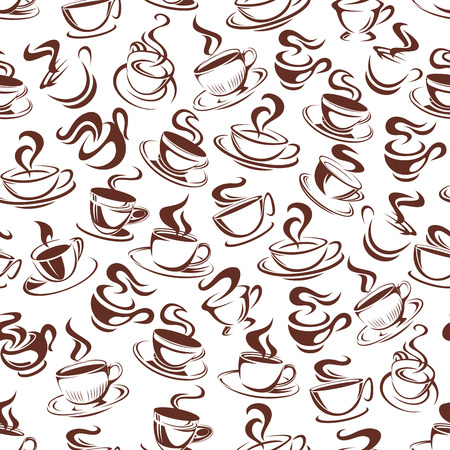 Ilustración de Vector coffee cup seamless pattern background illustration. - Imagen libre de derechos