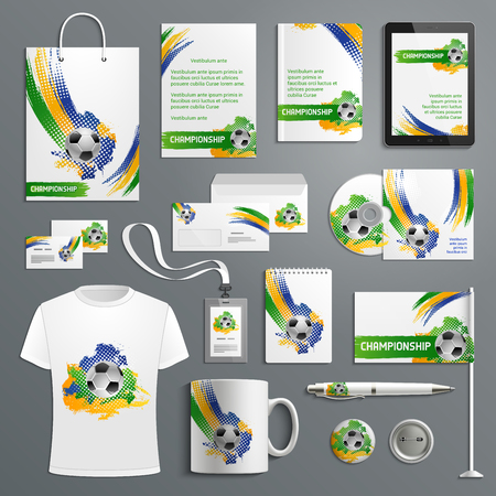 Illustration pour Advertising soccer football cup vector materials illustration. - image libre de droit