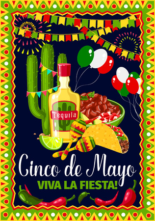 Illustration for Cinco de Mayo Mexican holiday vector greeting card - Royalty Free Image