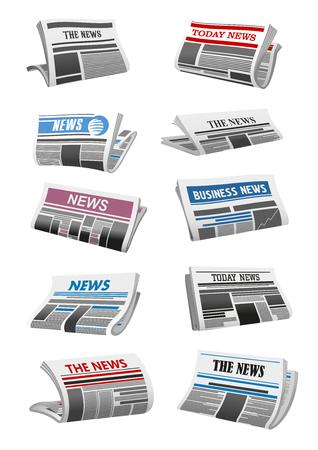 Illustration pour Newspaper 3d icon of folded news paper sheet illustration. - image libre de droit