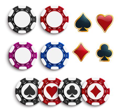 Illustration pour Vector casino poker gambling chips icons - image libre de droit