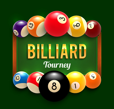 Illustration pour Pool billiards vector tourney poster - image libre de droit