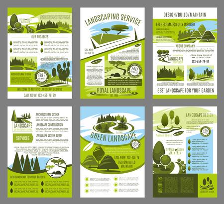 Ilustración de Vector landscape garden design brochure template set - Imagen libre de derechos