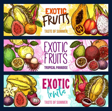 Ilustración de Vector fruit shop sketch banners of exotic fruits set - Imagen libre de derechos