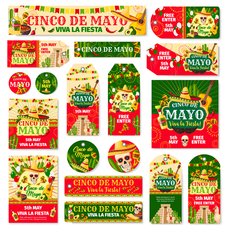 Illustration for Cinco de Mayo tag and fiesta party invitation card - Royalty Free Image