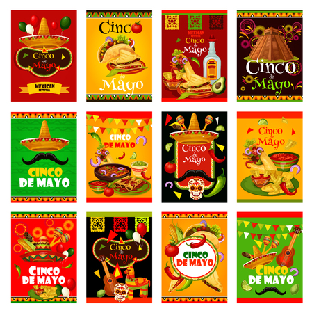Illustration for Cinco de Mayo greeting card set for mexican holiday design. Sombrero, maracas and guitar, fiesta party food and drink, chili pepper, jalapeno and tequila, Mexico flag, cactus and pinata festive banner Vector illustration. - Royalty Free Image