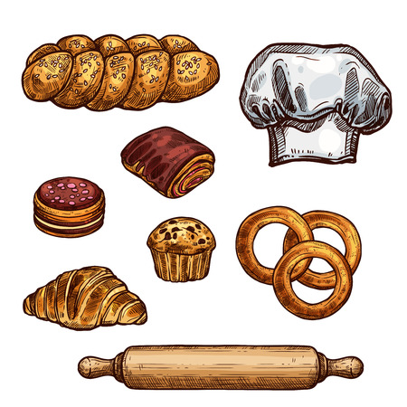 Illustration for Bread, croissant and bun, cake and cupcake sketch - Royalty Free Image