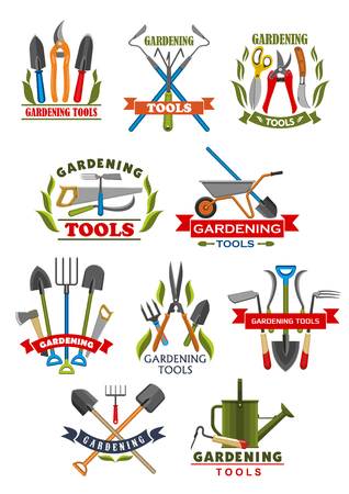 Illustration for Gardening tool badge with instrument and equipment - Royalty Free Image