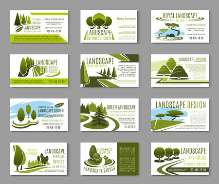 Illustration pour Landscape design studio business card template - image libre de droit