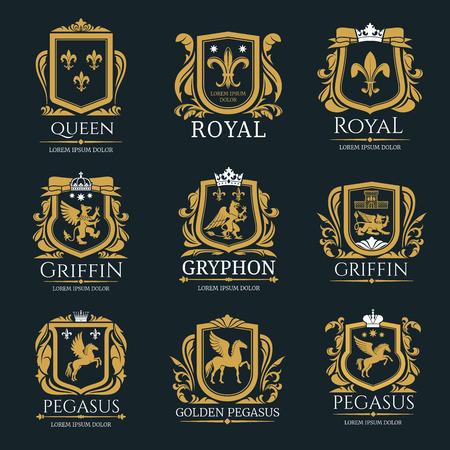 Ilustración de Royal heraldry logo set - Imagen libre de derechos