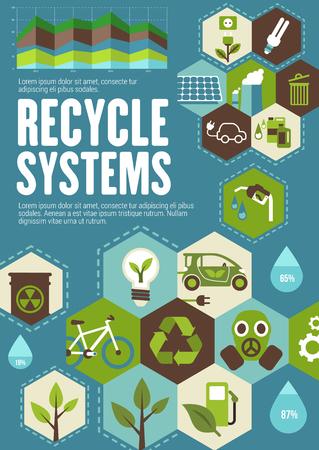 Ilustración de Recycle poster with ecology and green energy icon - Imagen libre de derechos
