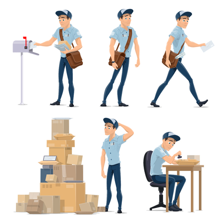 Illustration pour Postman delivering mail icon for postal service - image libre de droit
