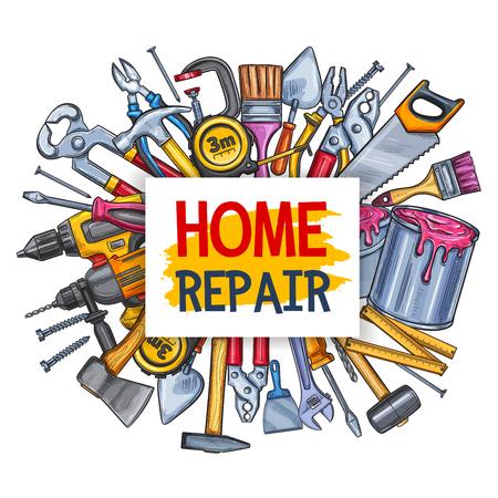 Illustration pour Home repair tool poster for construction design Vector illustration. - image libre de droit