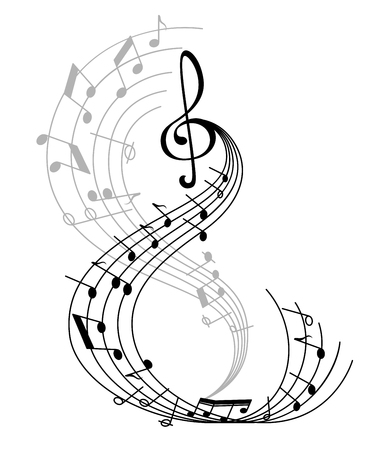 Illustrazione per Music note poster of musical symbol on curved staff with treble clef and key signatures. Classical music melody notation for music themes design - Immagini Royalty Free