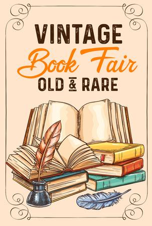 Ilustración de Vector sketch poster of old rare vintage books - Imagen libre de derechos
