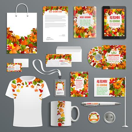 Illustration pour Autumn nature corporate identity template set - image libre de droit