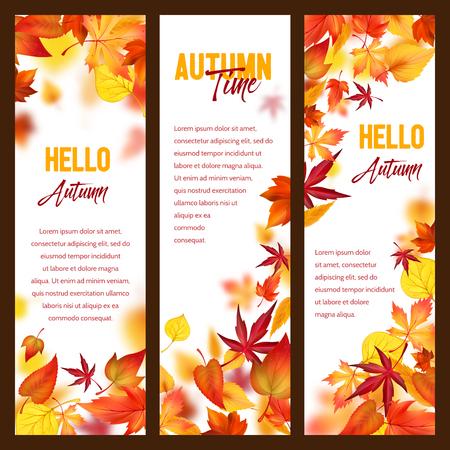 Illustration pour Autumn vector banners of fall leaf falling foliage - image libre de droit