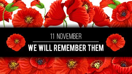 Illustration pour Remembrance Day with floral design poster. - image libre de droit