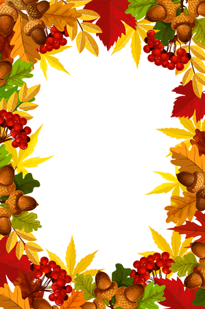 Illustration for Autumn frame of fall season leaf, acorn and berry - Royalty Free Image