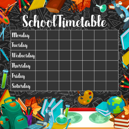 Illustration for School timetable or lesson schedule template on chalkboard. Week plan for student and pupil on blackboard - Royalty Free Image