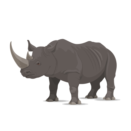 Illustration for Rhinoceros wild animal vector icon side view. Wild wapiti mammal rhinoceros species for wildlife fauna and zoology or hunting sport team trophy symbol and nature zoo adventure club design - Royalty Free Image