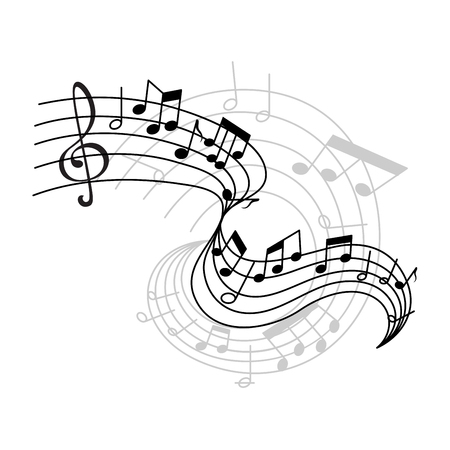 Ilustración de Vector music notes on staff icon - Imagen libre de derechos