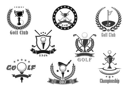 Illustration pour Golf club championship award vector icons set - image libre de droit