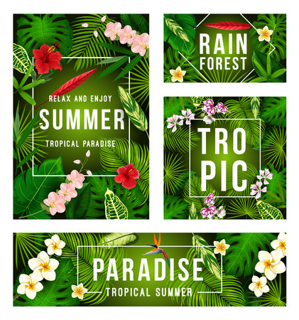 Illustration for Summer tropical banner with exotic floral frame - Royalty Free Image