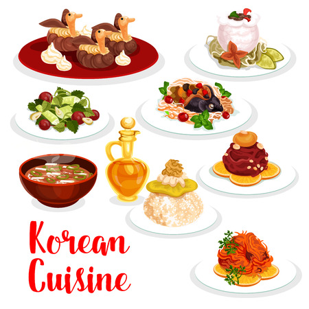 Illustration for Korean cuisine restaurant dinner icon. Chicken rice, raw ground beef meat and cucumber salad, beef ribs in radish pot, spicy salted fish and pork soup with kimchi, stuffed carp fish and cream cake - Royalty Free Image