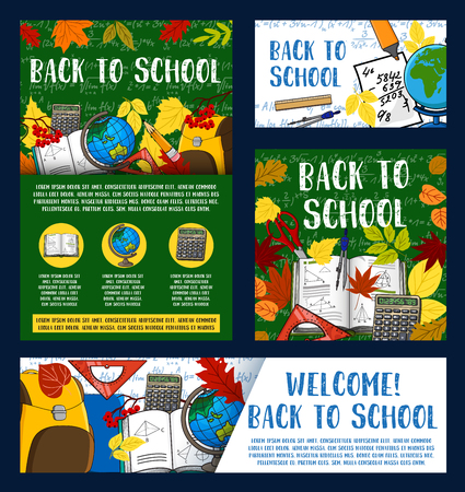 Illustration for Welcome back to school greeting banner design - Royalty Free Image