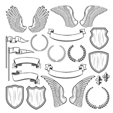 Illustration for Heraldic element for medieval badge and royal crest design. Heraldry shield, wing and laurel wreath, vintage ribbon banner, flag and victorian fleur-de-lis for coat of arms template - Royalty Free Image