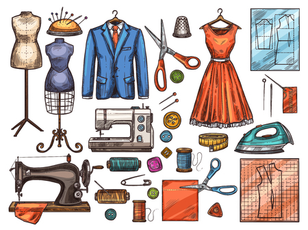 Illustration pour Sewing tool and tailor equipment sketch for atelier or fashion workshop design. Sewing machine, needle and scissors, thread, button and pin, mannequin, fabric, and spool, dress, suit and pattern icon - image libre de droit