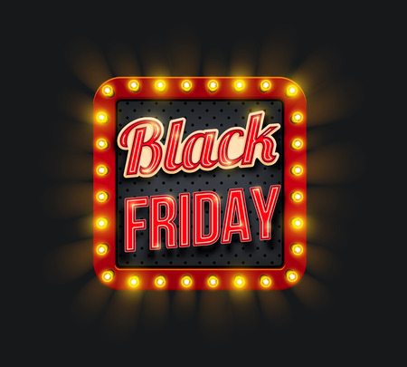 Ilustración de Black Friday sale promo banner with light frame - Imagen libre de derechos
