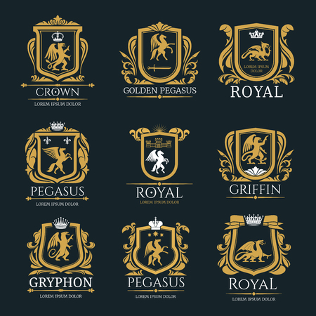 Illustration pour Heraldic royal animals vector isolated icons - image libre de droit