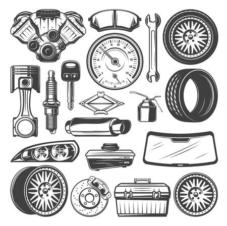 Ilustración de Car spare parts and instruments vector sketch set - Imagen libre de derechos