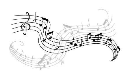 Ilustración de Musical note and treble clef on swirling stave icon. Musical notation symbol of classic music composition or song melody with shadow for music themes design - Imagen libre de derechos