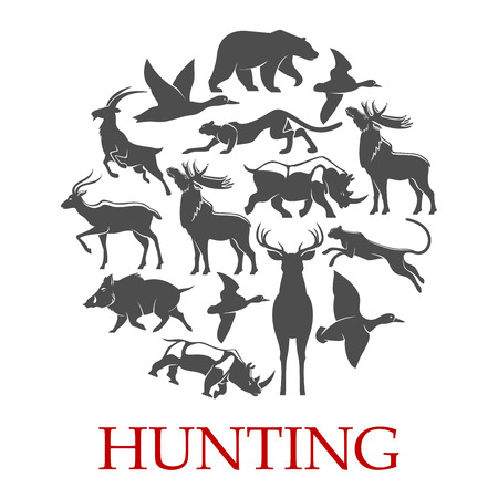 Illustration for Hunting sport poster of forest and african animal - Royalty Free Image