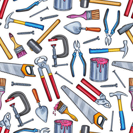 Illustration pour Repair work tool seamless pattern background - image libre de droit