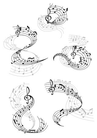 Ilustración de Vector music notes staff waves - Imagen libre de derechos