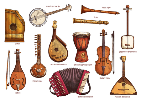 Ilustración de Musical instruments set zither and american banjo, reed pipe and flute. Classical music equipment collection rebac and indian siltar, ukrainian bandura and button accordion, african djembe drum vector - Imagen libre de derechos