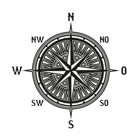 Illustration pour Compass icon in retro vintage style. Vector instrument used for navigation and orientation. Navigation tool showing direction and geographic cardinal points, used in travelling, guidance icon isolated - image libre de droit