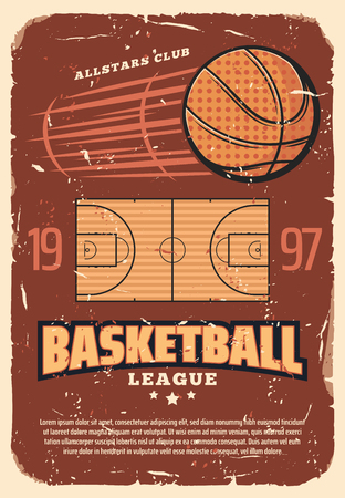 Illustration pour Basketball league retro poster with sport field and heavy ball. Vintage brochure for basketball championship or all stars tournament, team game with ball, invitation old shabby leaflet vector. - image libre de droit