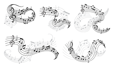 Illustrazione per Vector music notes on staff icons - Immagini Royalty Free