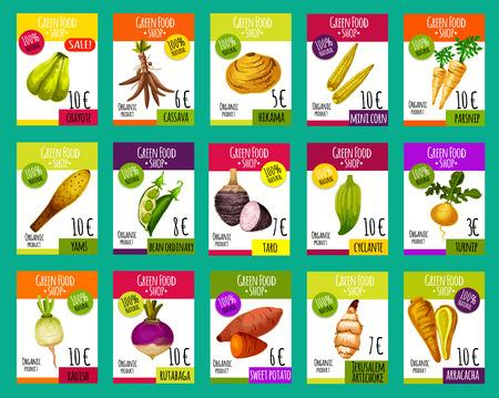 Ilustración de Vector price cards for exotic vegetables - Imagen libre de derechos