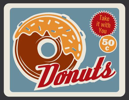 Illustration pour Donut retro grunge poster of bakery and fast food dessert. Sweet doughnut with caramel glaze and sprinkles vintage banner for pastry shop or cafe advertising design - image libre de droit