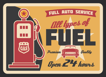 Illustration for Gas filling station vintage banner for car service template. Retro petrol pump grunge poster with old automobile, ribbon banner and star for fuel station and motor oil shop advertising design - Royalty Free Image