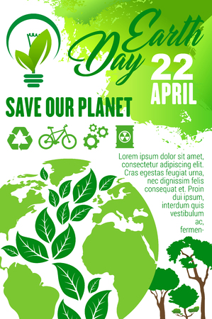 Ilustración de Earth Day and Save Planet poster for ecology holiday celebration. Earth globe with green leaf and tree in shape of world map, recycle, green energy and eco friendly transport sign for eco concept - Imagen libre de derechos
