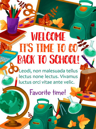 Illustration pour Welcome Back to School poster of chemistry book, pencil and September autumn maple leaf on chalkboard. Vector school bag, geography globe or algebra calculator and biology magnifier and notebook - image libre de droit