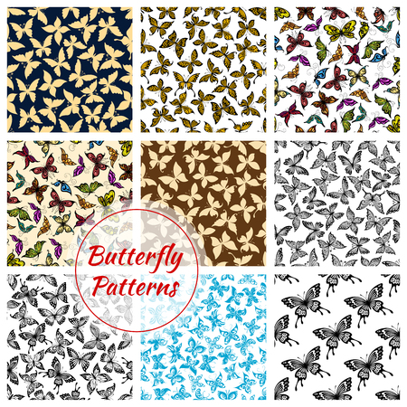 Ilustración de Butterflies pattern. Vector butterfly and moth insects. Exotic swallowtail with flittering wings, tropical monarch butterfly and hawk-moth, flying machaon and cabbage and luna batterfly. Seamless backgrounds set - Imagen libre de derechos