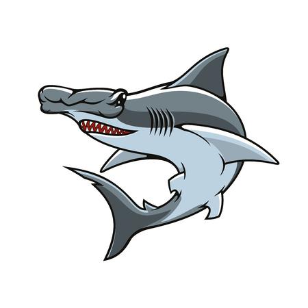 Ilustración de Hammerhead vector icon or mascot. Shark hammer head or winghead isolated symbol of sea or ocean toothed predatory fish with unusual head shape for sport team emblem, fishing sign or fishery industry badge - Imagen libre de derechos